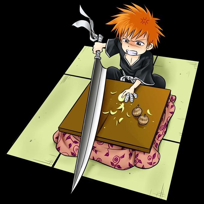 Sacs tudiant manga parodie bleach couteau de cuisine for Cuisinier humour
