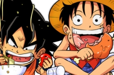 Manga - Parodie Luffy de One Piece X Naruto X Sangoku de Dragon Ball Z