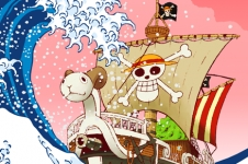Manga - Parodie Vogue Merry de One Piece X La Grande Vague de Kanagawa