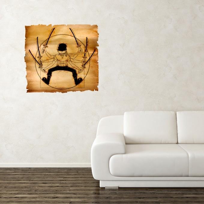funny one piece wall pediments - roronoa zoro as da vinci's