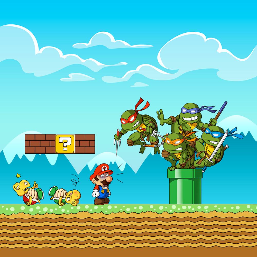 Sacs bandoulière Tortues Ninja - Mario Bros parodique Leonardo, Raphael, Donatello, Michelangelo et Mario : La revanche des Tortues (Super Deformed Edition) (Parodie Tortues Ninja - Mario Bros)