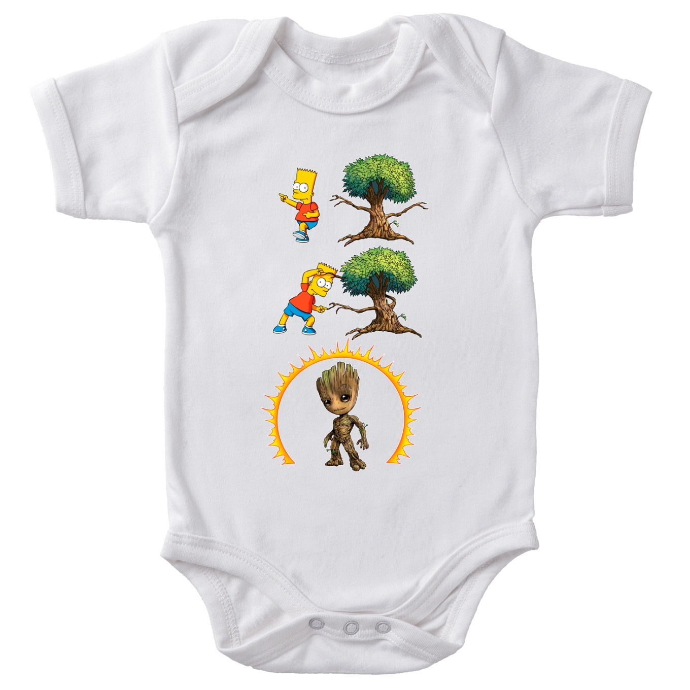 Funny Guardians Of The Galaxy The Simpsons Baby Bodysuit Groot And Bart Simpson Guardians Of The Galaxy The Simpsons Parody Ref938