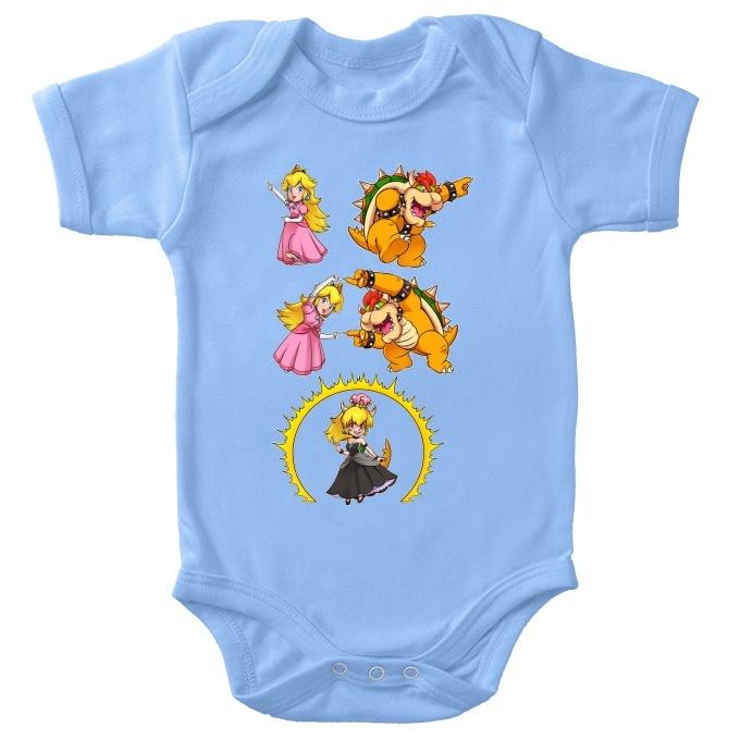 Funny Mario Baby Bodysuit Princess Peach And Bowser Aka Bowsette Mario Parody Ref1053