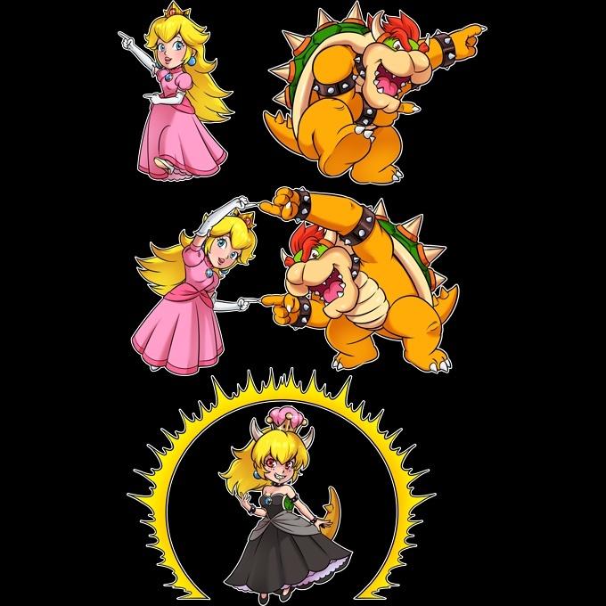 Mario Parodie Ref:1053 Prinzessin Peach und Bowser aka Bowsette Mario Lustiges Schwarz Damen T-Shirt Tank top