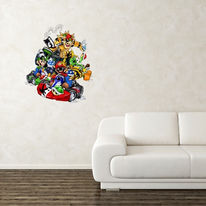 stickers d co jeux vid o parodie mario luigi yoshi et bowser de mario kart kart fighter racing. Black Bedroom Furniture Sets. Home Design Ideas