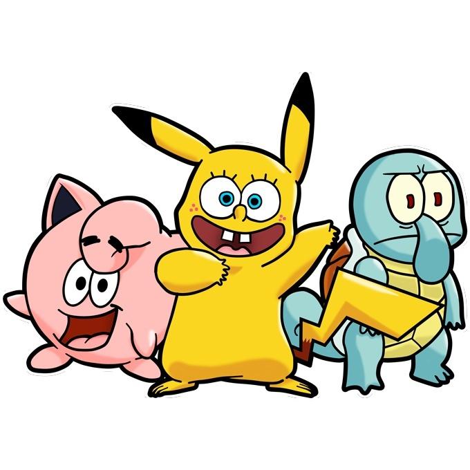 Funny Pokemon Spongebob Squarepants Sleeveless Baby Bodysuit