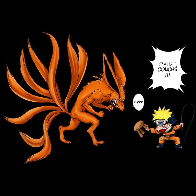 T-Shirt Femme Noir Parodie Naruto Un Nouveau dresseur./ Pikachu et Kyubi Pok/émon T-Shirt de qualit/é sup/érieure - imprim/é en France