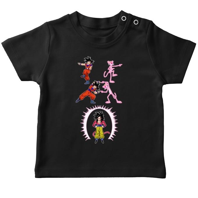 5909b67d Funny Dragon Ball GT - The Pink PantherBaby's T-shirt - Son Goku Super  Saiyajin 4 and the Pink Panther (Dragon Ball GT - The Pink Panther Parody)