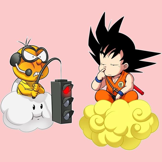 UK Verfügbarkeit 1fc8b 407db Dragon Ball Z - Super Mario Lustiges Baby Strampler (Mädchen) - Son-Goku  und Lakitu (Dragon Ball Z - Super Mario Parodie) (Ref:893)