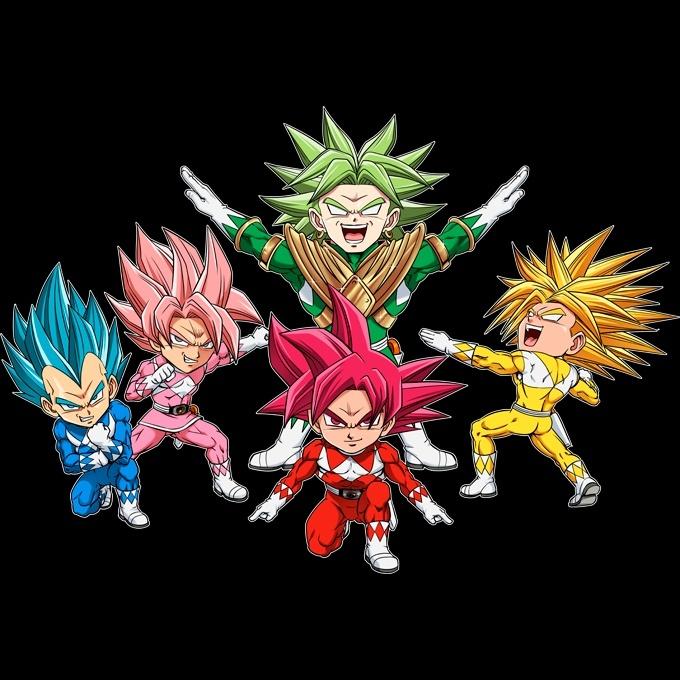 Funny Dragon Ball Super Power Rangers Kids Sweater Son Goku Vegeta Broly Black Goku Trunks X Power Rangers Dragon Ball Super Power Rangers