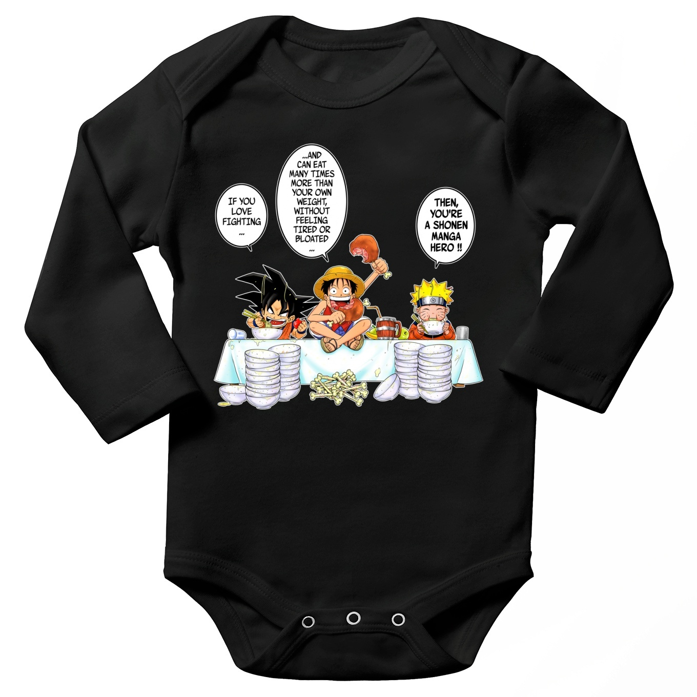 5793d9971 Funny Dragon Ball Z -One piece - Naruto Long sleeve Baby Bodysuit ...