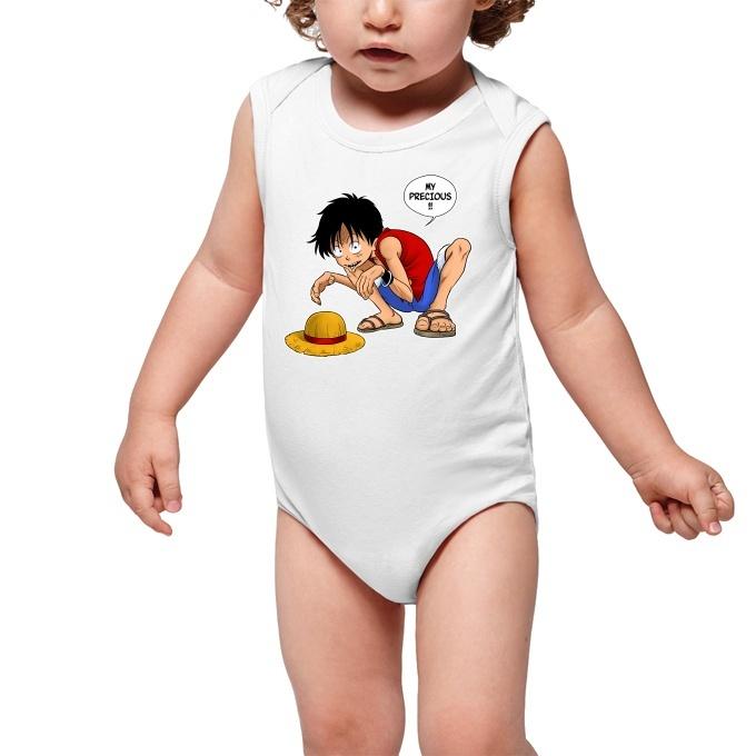 Funny One Piece Sleeveless Baby Bodysuit Monkey D Luffy And Gollum One Piece Parody Ref 744