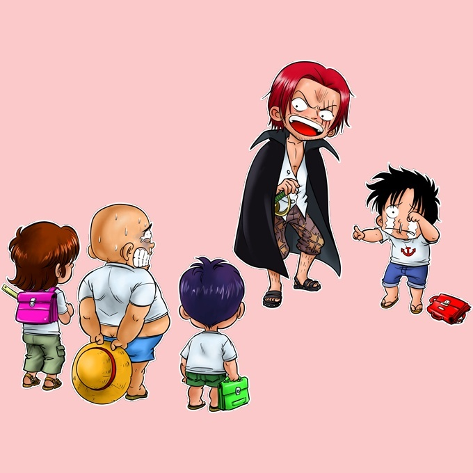 Funny One Piece Baby Bodysuit Baby Girls Monkey D Luffy And Red Haired Shanks One Piece Parody Ref 673