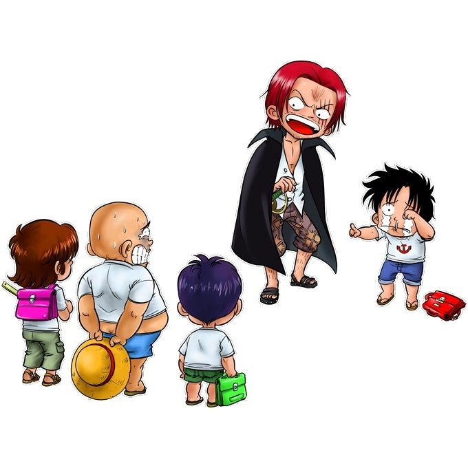 Funny One Piece Baby Bodysuit Monkey D Luffy And Red Haired Shanks One Piece Parody Ref 673