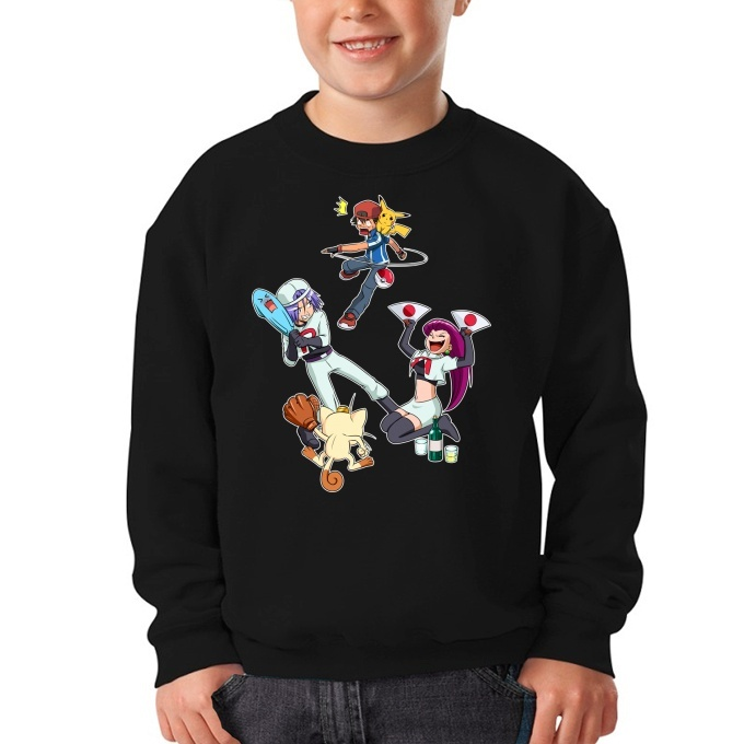 50825aa0 Funny Pokémon Parodies Kids Sweater - Pikachu et la Team Rocket ...