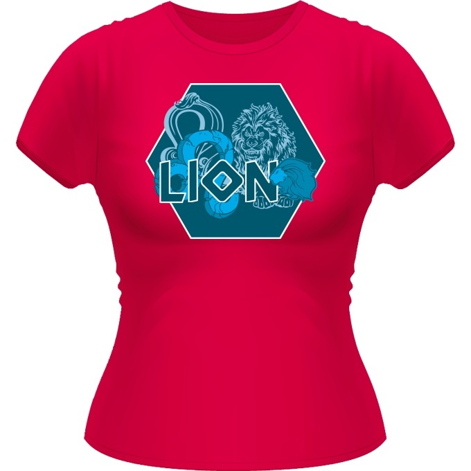 t shirts femmes zodiaque lion signe astrologique artwork du signe du lion version bleue. Black Bedroom Furniture Sets. Home Design Ideas