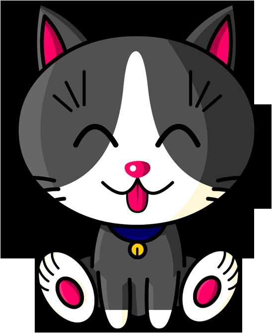Kawaii Baby Cat (blanc et gris)