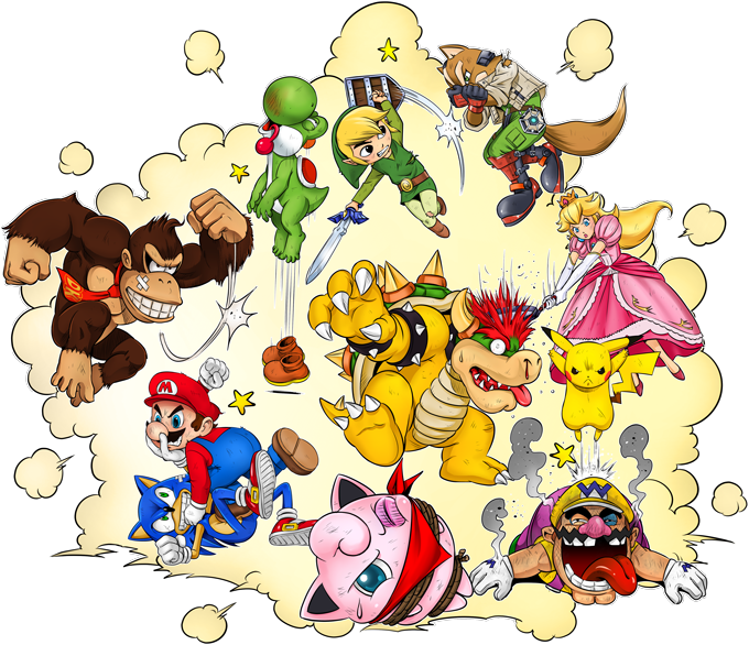 Mario, Link, Fox, Bowser, Pikachu and Wario