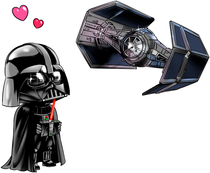 Darth Vader SD Caricature and his TIE Fighter Mini Drone