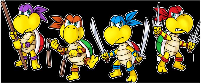Mario Vs Donatello,Raphael, Leonardo and Michelangelo