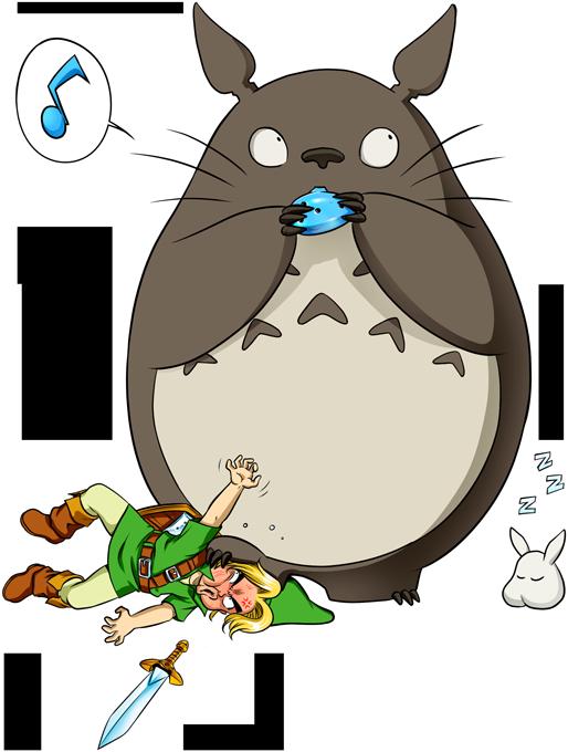 T-shirts Zelda parodique Totoro et Link : Ni Vu ni connu... (Parodie Zelda)