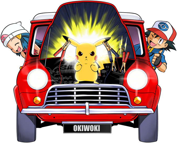Ash, Dawn and Pikachu