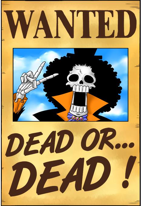 Poster HD One Piece parodique Brook Wanted : Un Wanted qui tue !! YOHOHOHO !!! (Parodie One Piece)