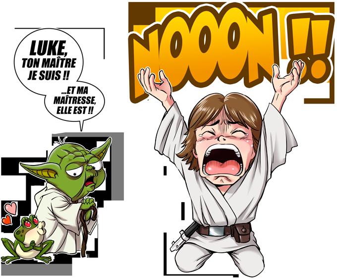 T-shirts Star Wars parodique Yoda et Luke Skywalker : Luke Life Episode IV : le Maître... (Parodie Star Wars)