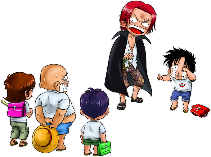 Monkey D Luffy and Red-Haired Shanks