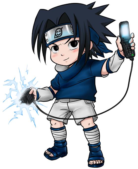 T-shirts Naruto parodique Sasuke Uchiwa : Full battery No Jutsu (Parodie Naruto)