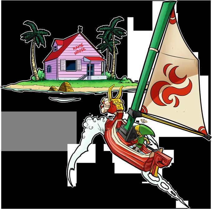T-shirts Hommes Jeux Vidéo - Parodie Link de Zelda et la Kame House Tortue Géniale de Dragon Ball Z Une île perdue dans l'Océan...