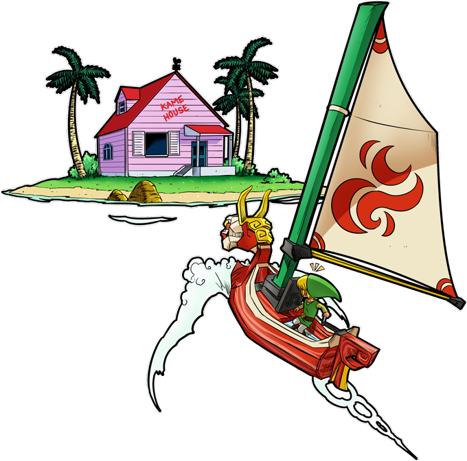 T-shirts Enfants Garçons Manga - Parodie Dragon Ball Kame House et Link de Zelda La découverte d'une nouvelle île...