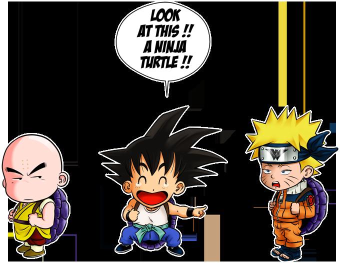 Son Goku, Kuririn and Naruto