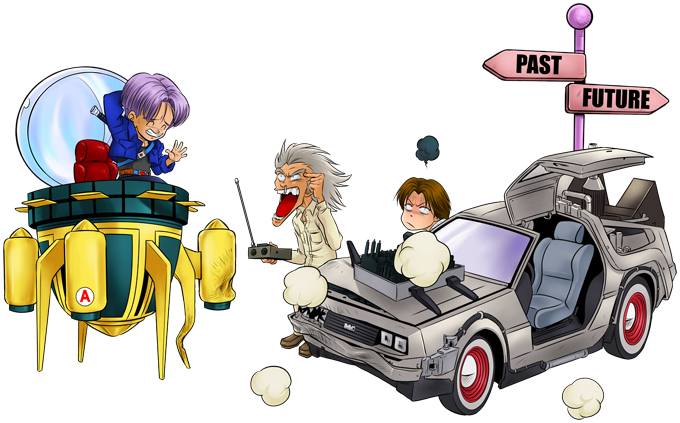 Trunks and Marty Macfly and Doc
