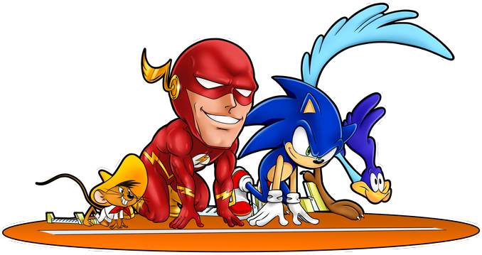 Flash, Sonic, Roadrunner and Speedy Gonzales