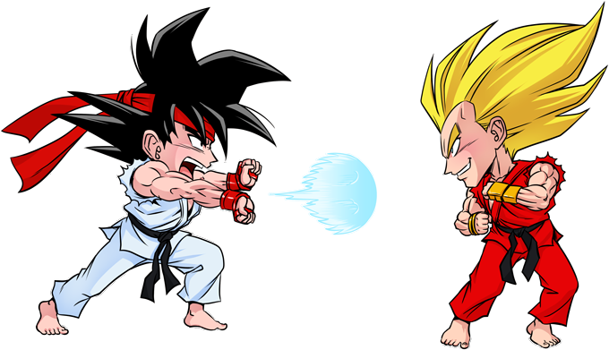 Son Goku and Vegeta X Ryu and Ken