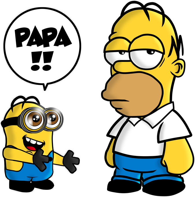 T-shirts Hommes Film - Parodie des Minions et de Homer Simpson Un fiston trop mignon (Super Deformed)