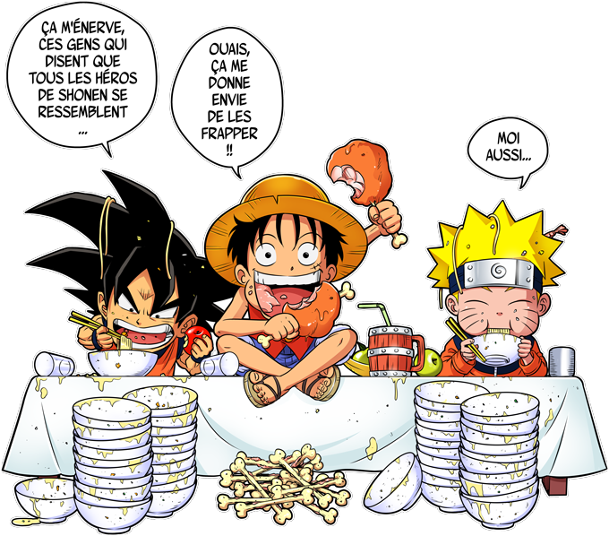 T-shirts Enfants Garçons Manga - Parodie Luffy de One Piece X Naruto X Sangoku de Dragon Ball Super La recette d'un bon shonen Manga (Super Deformed)
