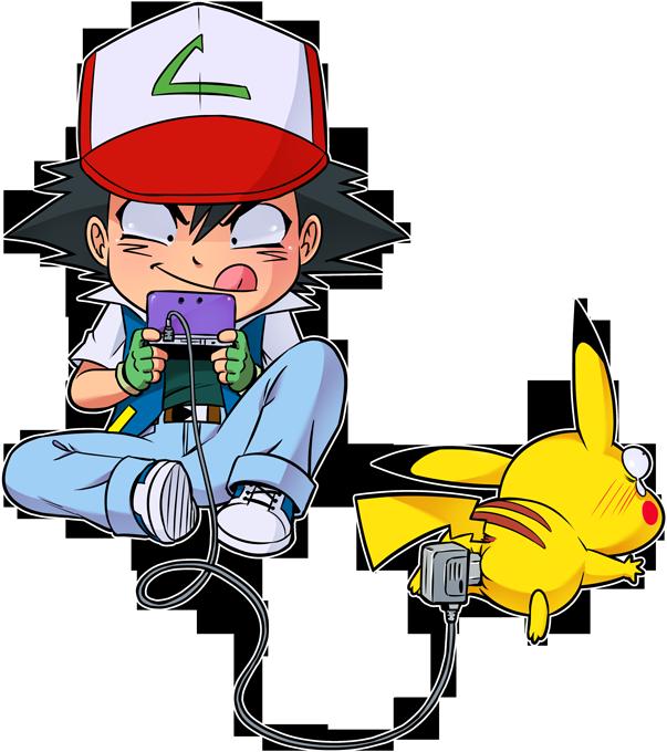 T-shirts Enfants Filles Jeux Vidéo - Parodie Pikachu et Sasha de Pokémon Batterie de Secours (Super Deformed)