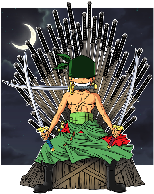 T-shirts Enfants Garçons Manga - Parodie Zoro de One Piece et Game of Thrones Game of Swords (Super Deformed)