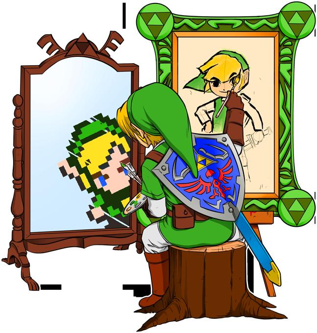 T-shirts Hommes Jeux Vidéo - Parodie de Link de Zelda à la Sauce Autoportrait de Norman Rockwell Autoportrait de héros...
