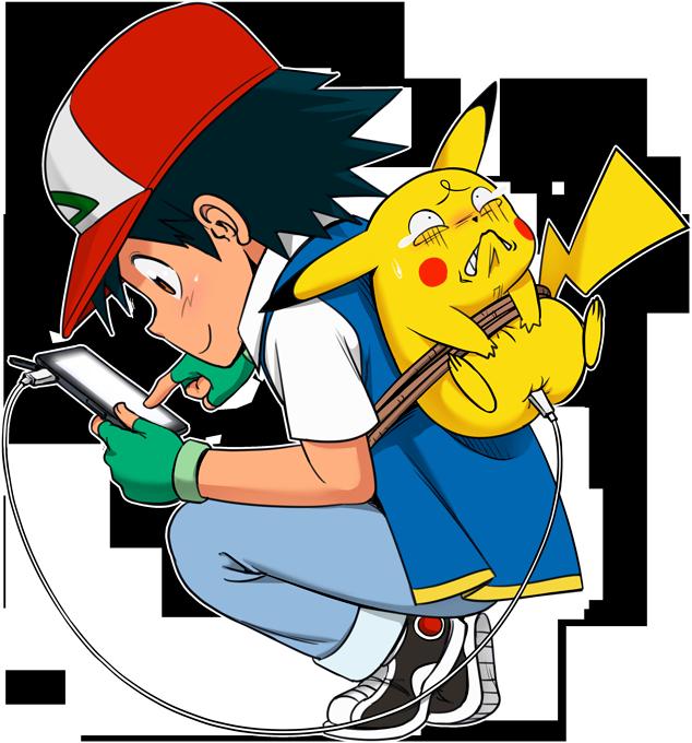 T-shirts Enfants Filles Manga - Parodie de Pikachu et Sacha de Pokemon Batterie infinie et portable !!