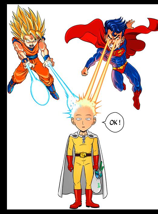 T-shirts One-Punch Man - Dragon Ball Super - Superman parodique Saitama, Sangoku et Superman : Super Saiyan, Super man et super...chauve :) (Parodie One-Punch Man - Dragon Ball Super - Superman)