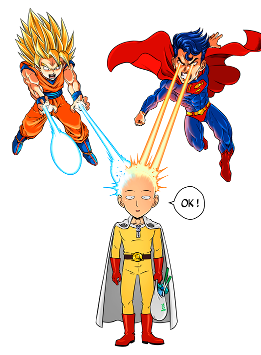 Saitama, Son Goku et Superman