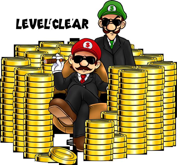 T-shirts Mario parodique Mario et Luigi : Level Clear :) (Parodie Mario)