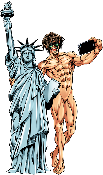 Eren Yeager and Statue of Liberty