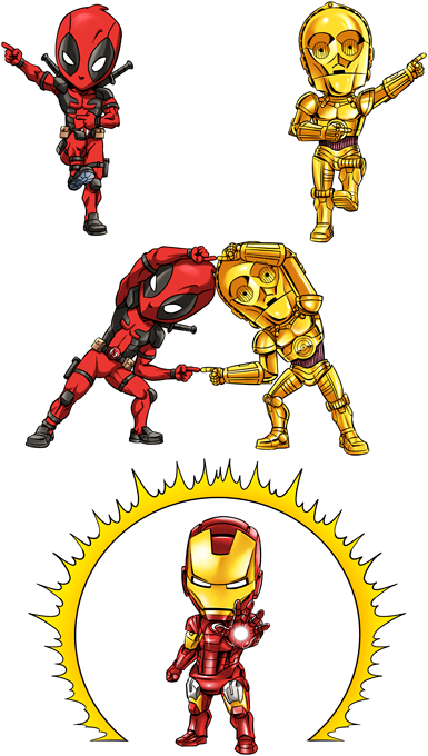 Deadpool,C-3PO and Iron Man