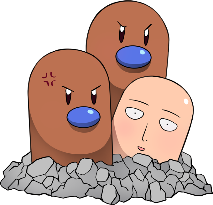 T-shirts One-Punch Man parodique Saitama et Triopikeur : Pokéman !! (Parodie One-Punch Man)