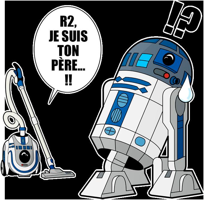 T-shirts Star Wars parodique R2-D2 le Droïd d'Anakin et Luke Skywalker : R2, je suis ton père (VF classique) (Parodie Star Wars)