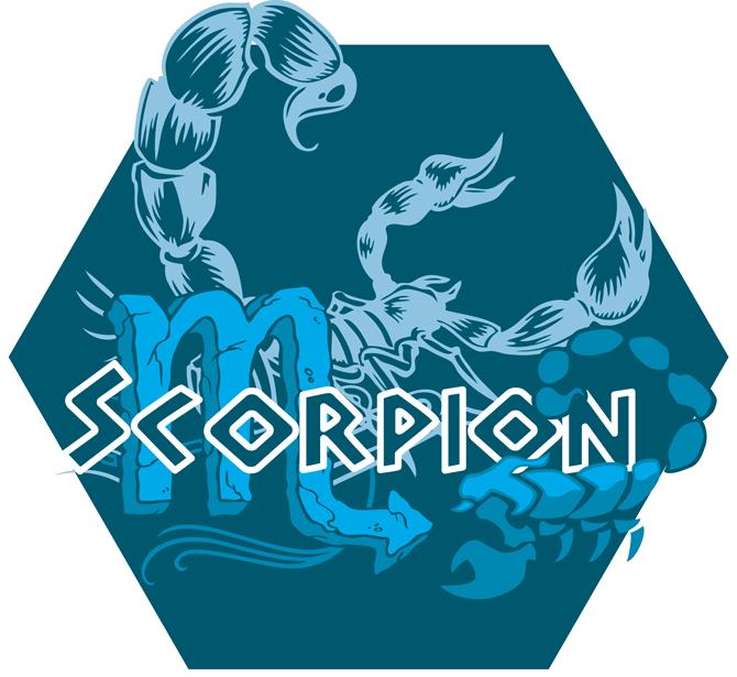 T-shirts Femmes Zodiaque Scorpion ( signe astrologique ) Artwork du signe du Scorpion (Version Bleue)